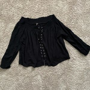 Harlow Lace Up Off Shoulder Black Blouse